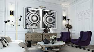 contemporary living room with wall sconces and abstract wall art