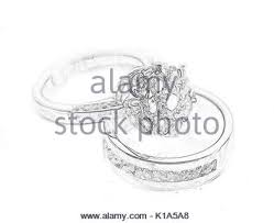 drawing two romance rings love heart wedding symbol stock vector