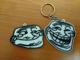 Meme Keychains - 3d printed troll meme face keychain by tuan zulfadli pinshape