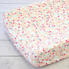 peach and mint mini floral crib bedding set by caden lane