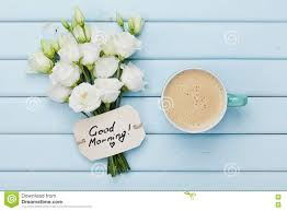 rustic coffee mugs coffee mug with white flowers and notes good morning on blue