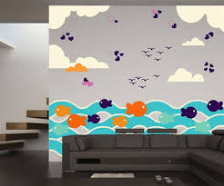 Fish Nursery Decor Fish With Waves And Birds Wall Decal Kit Nursery Room Decor