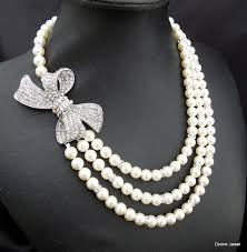 pearl bow necklace images Pearl necklace bridal rhinestone necklace crystal necklace jpg