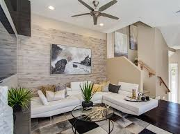 modern living room with ceiling fan u0026 high ceiling zillow digs