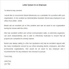 examples of recommendation letters for employment cover letter