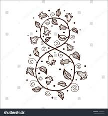 number eight 8 flowers sketch element stock vector 174626426