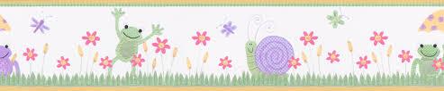 bordüre kinderzimmer selbstklebend bordüre selbstklebend frühlingswiese mit fröschen und schnecken