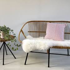 vintage midcentury retro wicker sofa settee banquette canapé