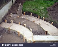 the picture shows that the concrete footings for a small garden