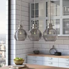 clear glass pendant lights for kitchen island pendant lighting you ll wayfair