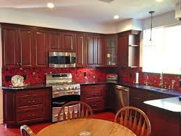 Kitchen Red Cabinets Kitchen Glossy Red Cabinet Glass Floating Shelves Italian White