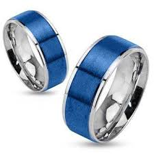 blue steel rings images Stratosphere final sale brushed blue ip and silver stainless jpg