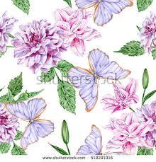 purple dahlias pink lilies butterflies watercolor stock illustration