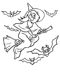 witch bats flying witch coloring pages holidays halloween