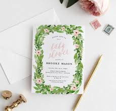wreath spring baby shower invitation blush paper co
