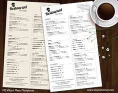 food menu printable restaurant menu template by aiwsolutions