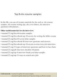 busser resume sample ehs resume resume cv cover letter ehs resume 3 top8ehsresumesamples 150614031127 lva1 app6891 thumbnail 4jpgcb1434251543