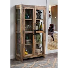 Curio Cabinets Pair Oscar Natural Reclaimed Wood Curio Cabinet By Kosas Home Free