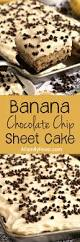 banana chocolate chip sheet cake with cream cheese frosting a