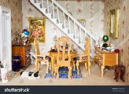 lovely victorian dining room inside dolls stock photo 57820324