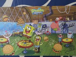 spongebob squarepants cast autographed 2015 comic con poster
