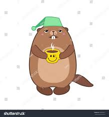 vector illustration groundhog holding cup coffee stock vector