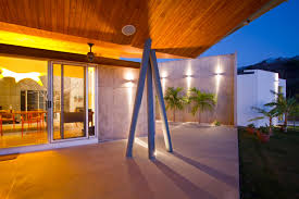 modern house charming metal pillars on concrete terrace floor