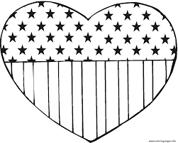 flag usa in heart shape america coloring pages printable