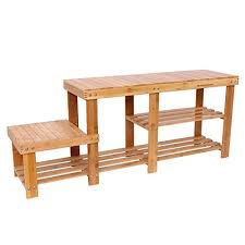 Shoe Bench Entryway Songmics Bamboo Shoe Bench Entryway Storage Rack With High And Low