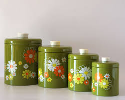 Green Canister Sets Kitchen - vintage ransburg canister set avocado with white etsy page i