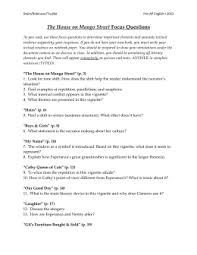 guided reading worksheet pp      Urban Dreams The House on Mango Street Focus Questions