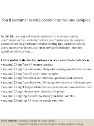Sample Resume For Customer Care Executive by Top8customerservicecoordinatorresumesamples 150331221824 Conversion Gate01 Thumbnail 4 Jpg Cb U003d1427858353