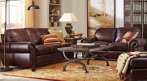 brockett brown leather 5 pc living room leather living rooms brown