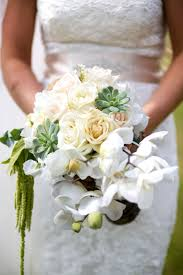 gardenia bouquet holds white orchid succulent and bridal bouquet