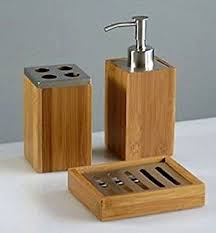 Wooden Bathroom Accessories Set by Natural Bamboo Wood 4 Piece Bathroom Accessory Set Amazon Co Uk
