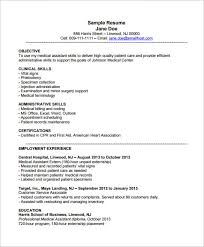 Sample Resume With Experience by Medical Assistant Resume Template U2013 8 Free Samples Examples