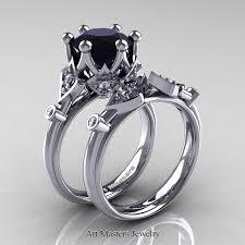 black wedding ring set modern antique 14k white gold 3 0 carat black and white diamond