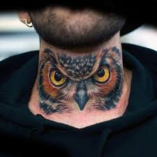 30 owl neck tattoo designs for men bird ink ideas