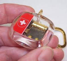 Music Box Keychain Rare Vintage Swiss Reuge Music Box Keychain Key Ring Aida Boxed