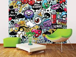 funky graffiti doodle monsters wall mural