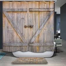 polyester shower curtain old bronze wooden garage door vintage