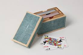 playing card box teal shagreen forwood design