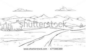 vector illustration mountains sketch stock vector