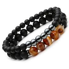 mens black bead bracelet images 2 pc set of elegant men 39 s natural stone energy bracelets zenheavens jpg