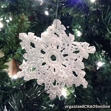 5 crochet snowflake glitter ornaments on