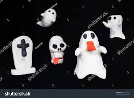 background halloween cute halloween cute ghost skull tombstone made stock photo 325615958