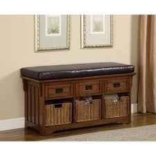 oak small storage bench with upholstered seat storage benches