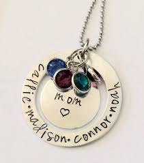 Mom Necklaces With Children S Names Mom Birthstone Necklace With Children U0027s Names
