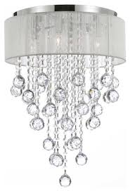 White Chandelier With Shades 4 Light Crystal Chandelier Chrome And White Shades Contemporary