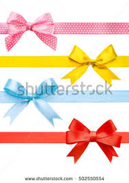 ribbon bows gold pink collection stock vector 94662973